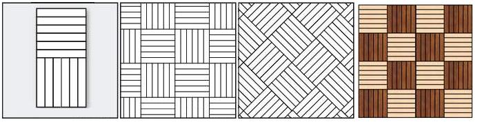 Укладка паркета в виде квадрата из шести планок