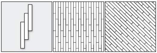 палуба прямая, палуба диагональная. Смещение планок паркета на 1/3