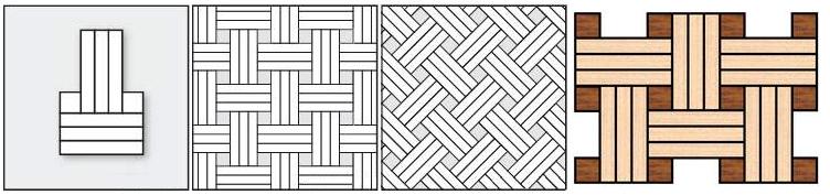 Плетенка тройная, используется при укладке два виды древесины.