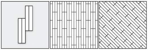 палуба двойная прямая, палуба двойная диагональная. Смещение планок паркета на 1/2