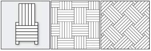Плетенка, пять планок, используется при укладке два виды древесины.