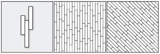 палуба из паркетных планок разных размеров прямая, палуба из паркетных планок разных размеров диагональная